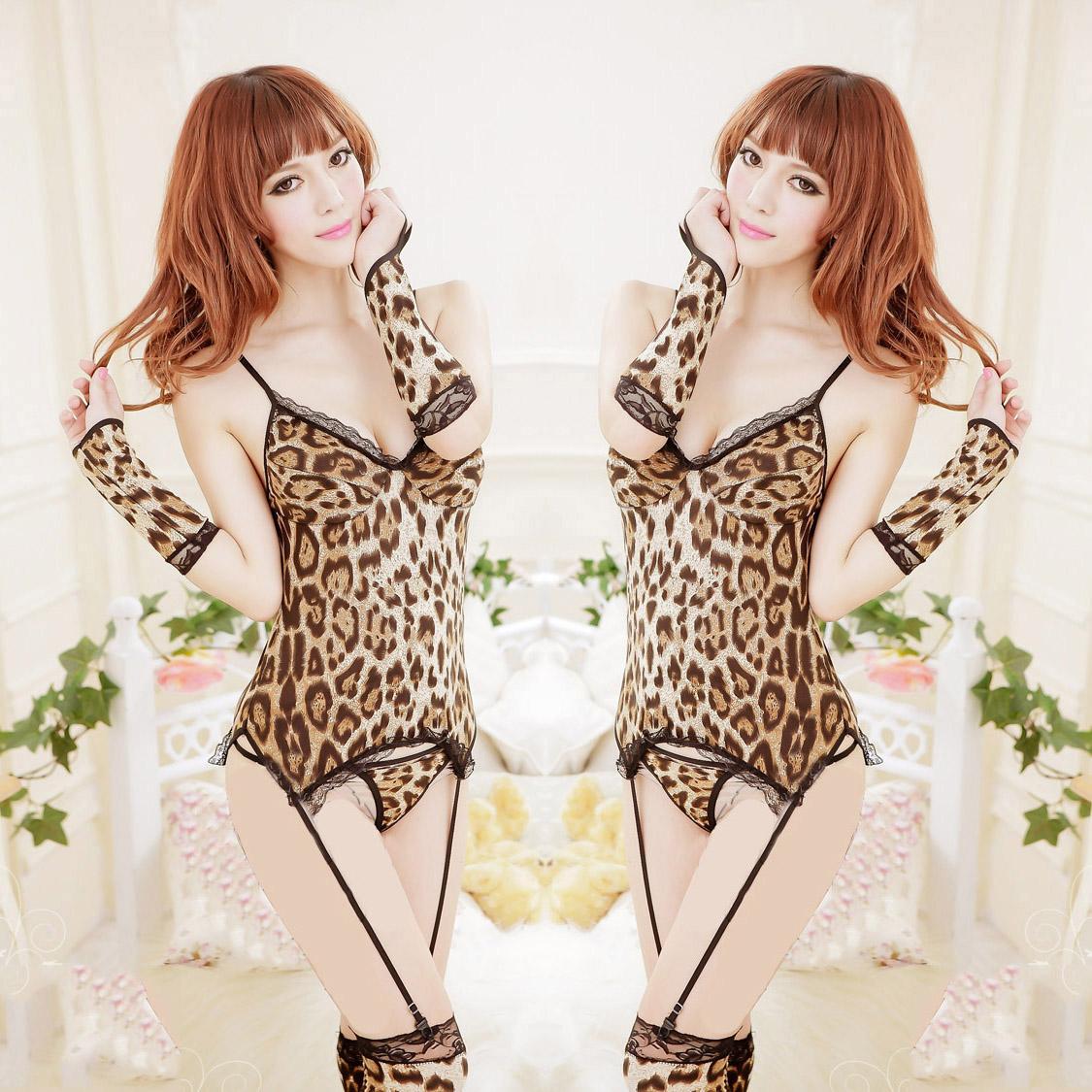 Владелец реальные реальные сексуальные леопардовым принтом белье взрослых SM кошки искушение, заданные женский костюм зайчика от Kupinatao