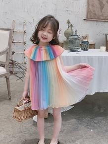 Next alice девочки платье 2019 ребенок летний костюм новый цвет радуга постепенное изменение плиссированный в больших детей шифон юбка, цена 3624 руб
