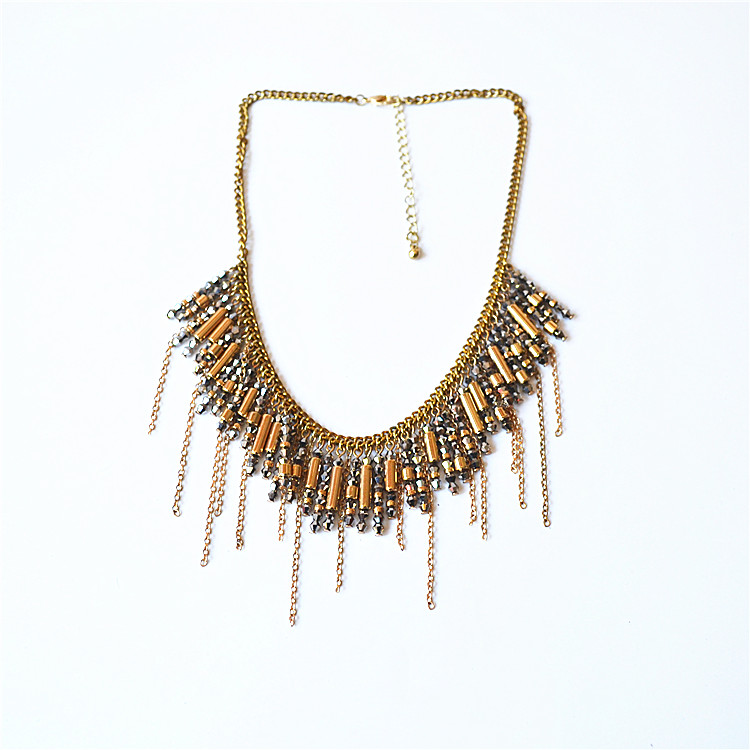 Japan and South Korea popular versatile temperament personality fashion exaggeration exquisite multi-layer flower Tassel Necklace New Fashion sweet beauty