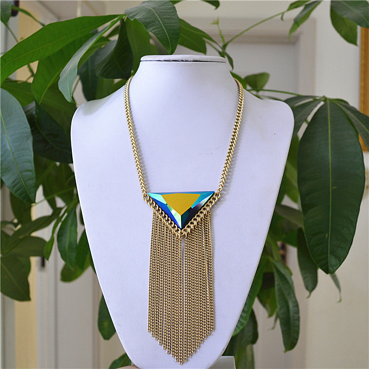 Foreign trade jewelry European and American national style new popular Necklace color diamond exaggerated tassel versatile fashion star women