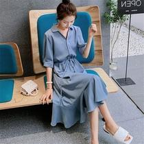 大码胖mm雪纺连衣裙女2021新款夏季法式收腰显瘦气质衬衫蓝色裙子