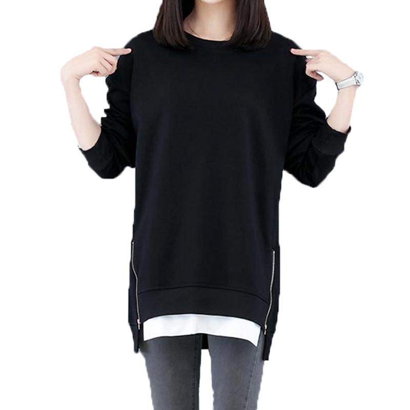 2019新款春季大码女装韩版卫衣中长宽松长袖上衣侧拉链拼接打底衫