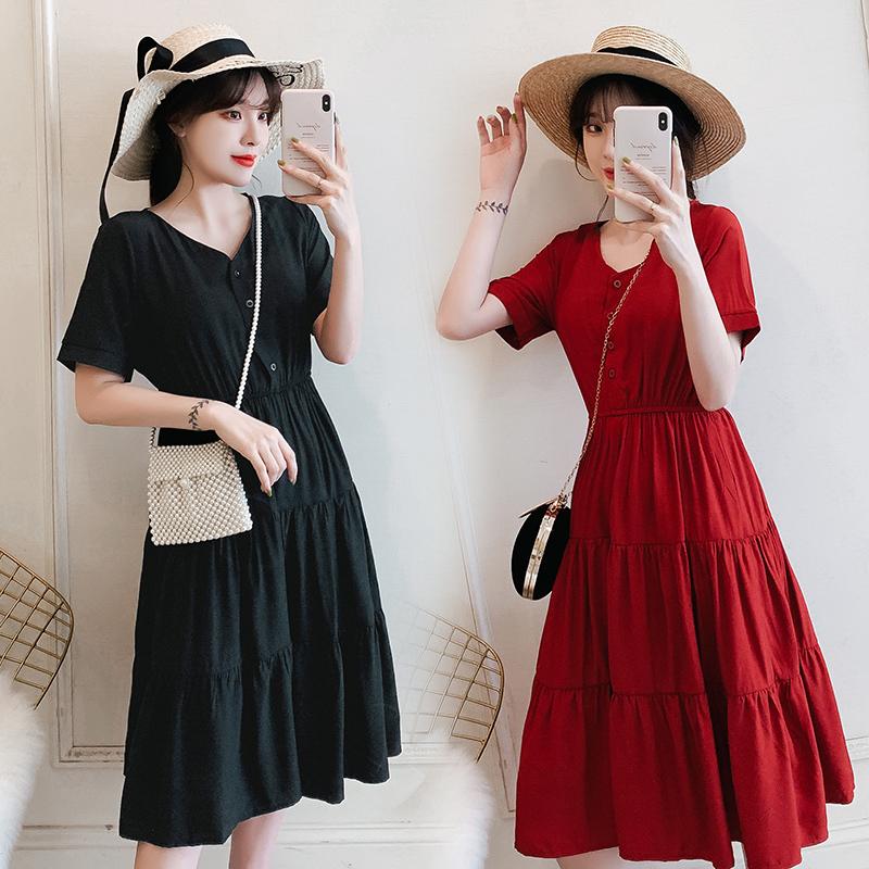 2019夏季新款韩版大码女装胖mm减龄洋气V领显瘦中长款蛋糕连衣裙正品保证