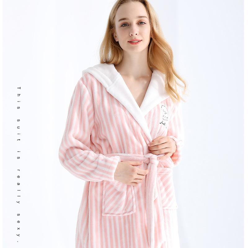 婵之云睡衣女秋冬宠爱系列D1910334珊瑚绒系带睡袍浴袍保暖家居服