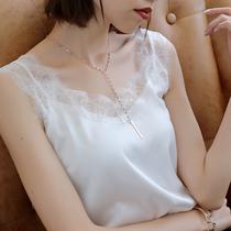蕾丝V领吊带背心女打底衫丝绸缎面内搭黑纯色性感外穿上衣夏