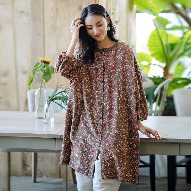 Retro womens dress 2021 new spring floral dress womens loose large one-piece Floral Dress
