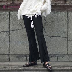 生活在左2018新款秋季chic女高腰九分裤百褶前开叉微喇叭裤子长裤