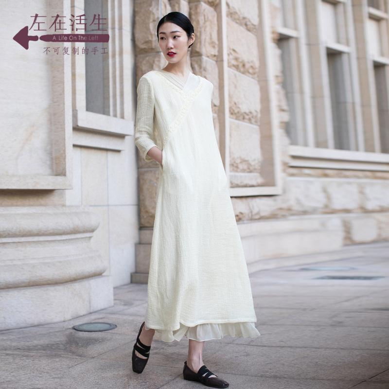 生活在左2018夏季新款女装气质手工绣花拼真丝七分袖连衣裙长裙女包邮