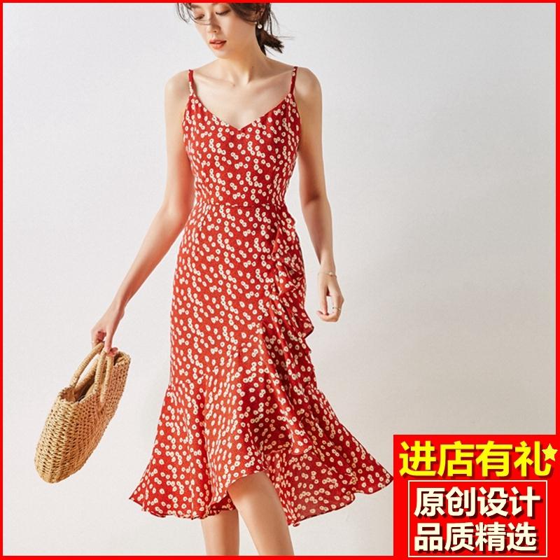 2020夏季新款女装法式复古碎花连衣裙爱的迫降小雏菊吊带裙鱼尾裙