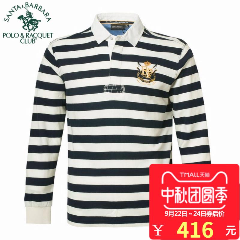 POLO圣大保罗专柜正品休闲男装纯棉翻领横间条纹长袖T恤PS15KT117