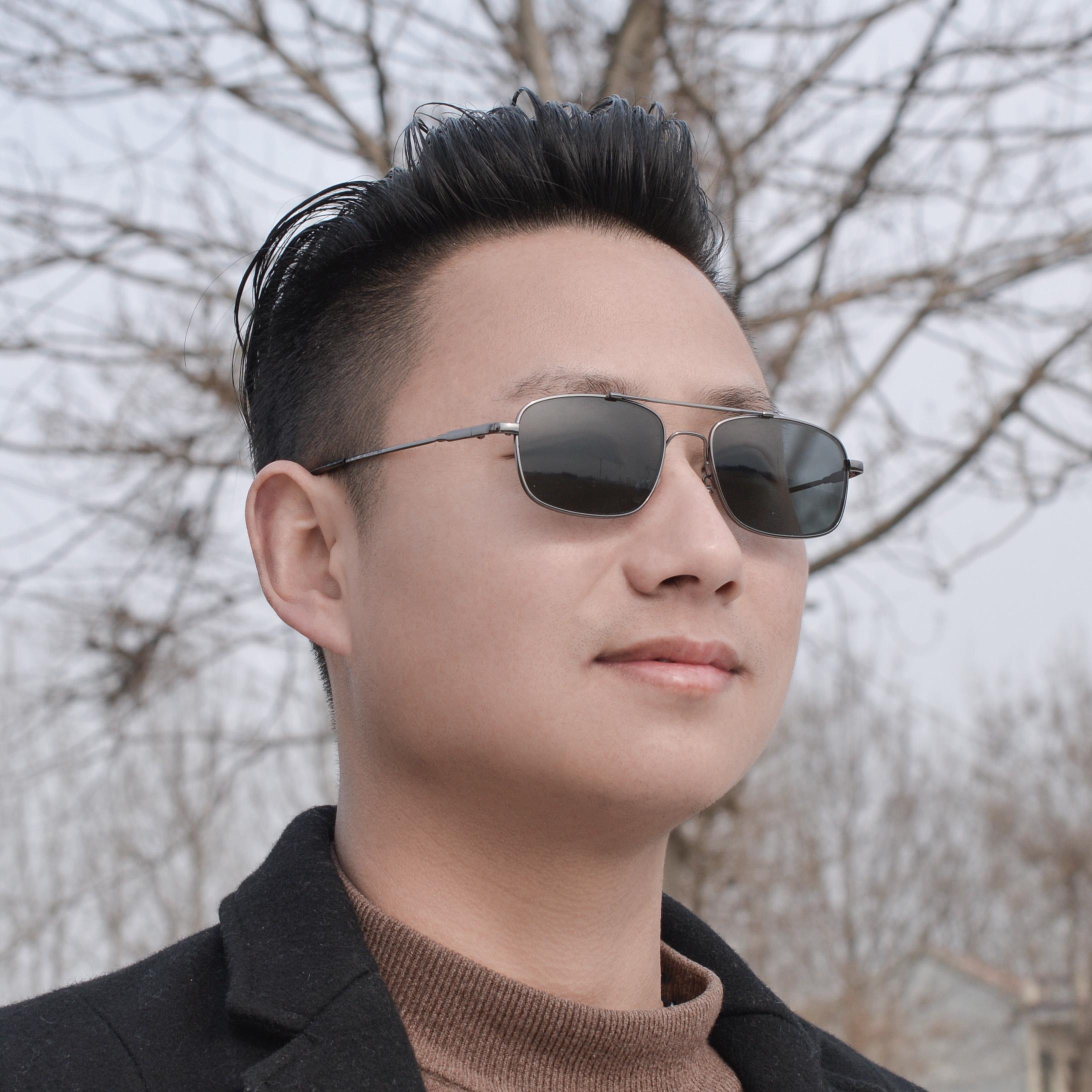 墨镜记忆太阳镜偏光太阳眼镜男款全框偏光深灰色镜片帅近视太阳镜