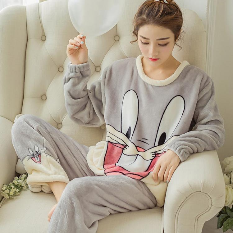 睡衣女套装冬天珊瑚绒居家服加厚加绒秋季法兰绒长袖韩版可爱大码
