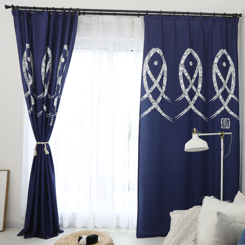 Ins Japanese modern personalized art blue curtain custom finished semi shading living room bedroom study curtain cloth