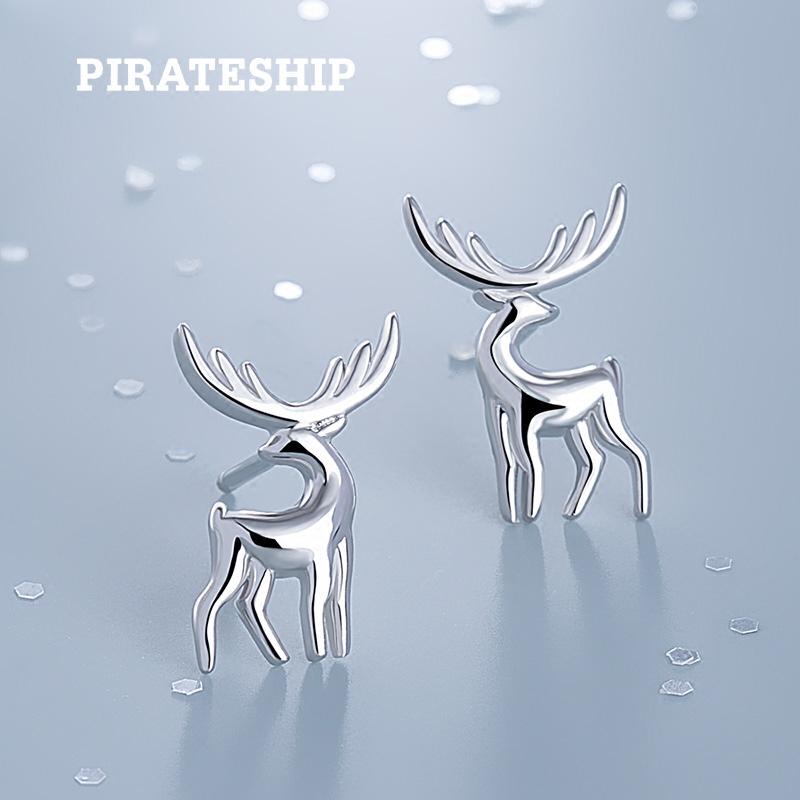 海盗船新款麋鹿女韩国气质银耳环(非品牌)