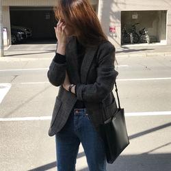 2020秋冬季新款韩版小西装外套女休闲复古加厚羊毛呢格子ins西服