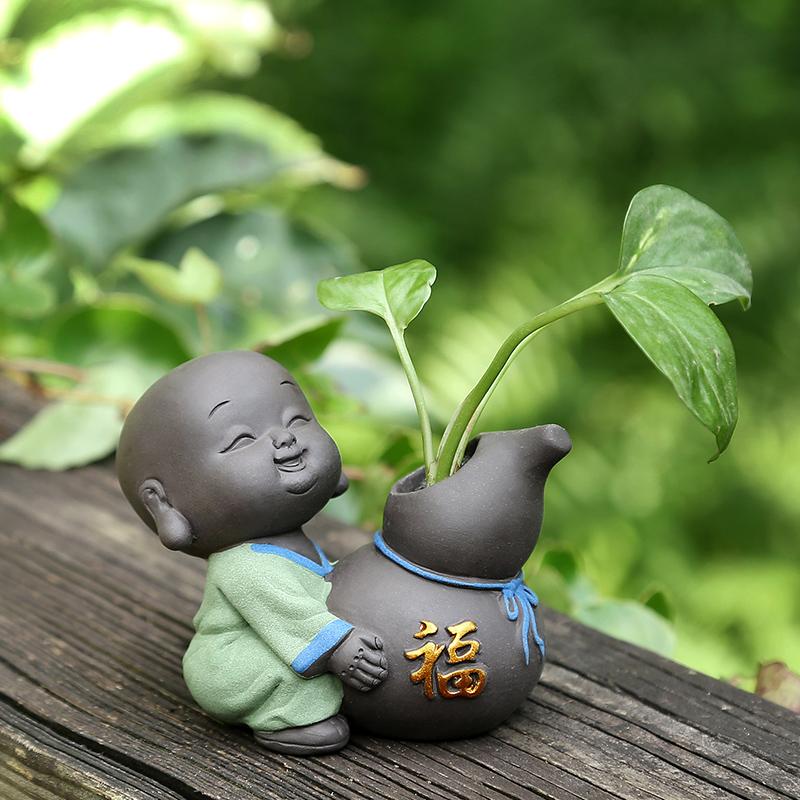 小和尚水培茶宠摆件精品可养禅意小沙弥茶桌茶具可爱迷你小花器瓶