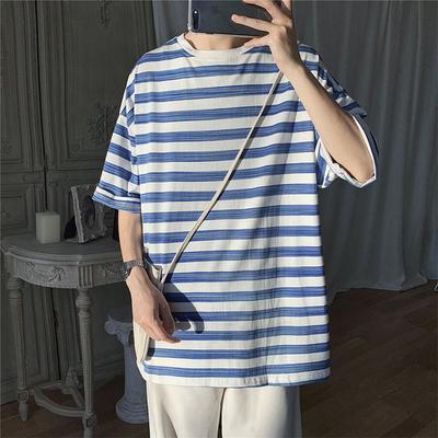A410-1-T8821*小清新潮流短袖T恤宽松条纹五分袖夏季P35(限价49)