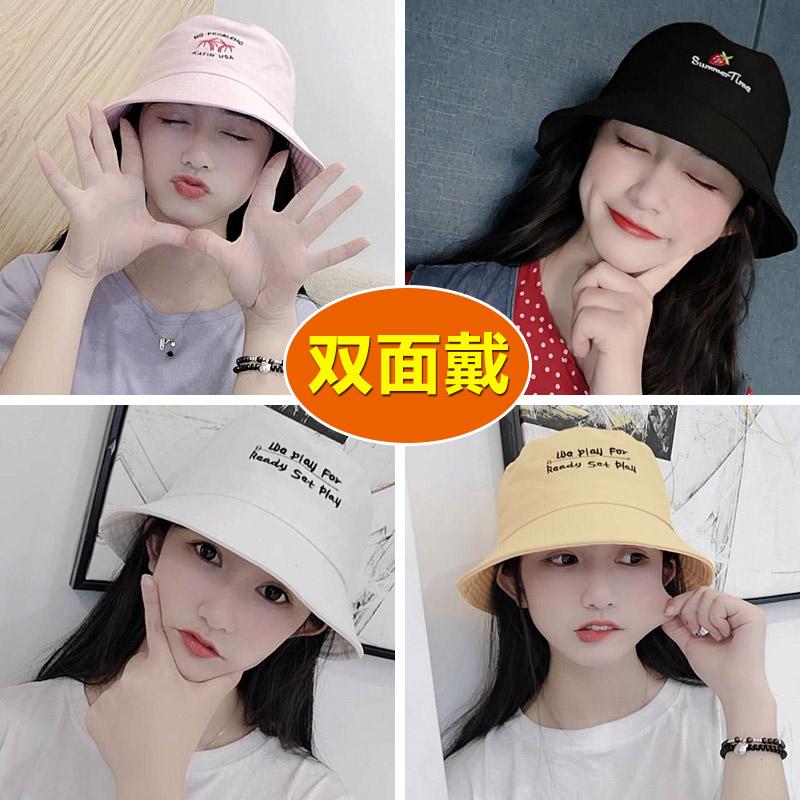 新款渔夫帽女夏薄款防晒遮阳太阳帽夏季防紫外线双面小清新帽子潮