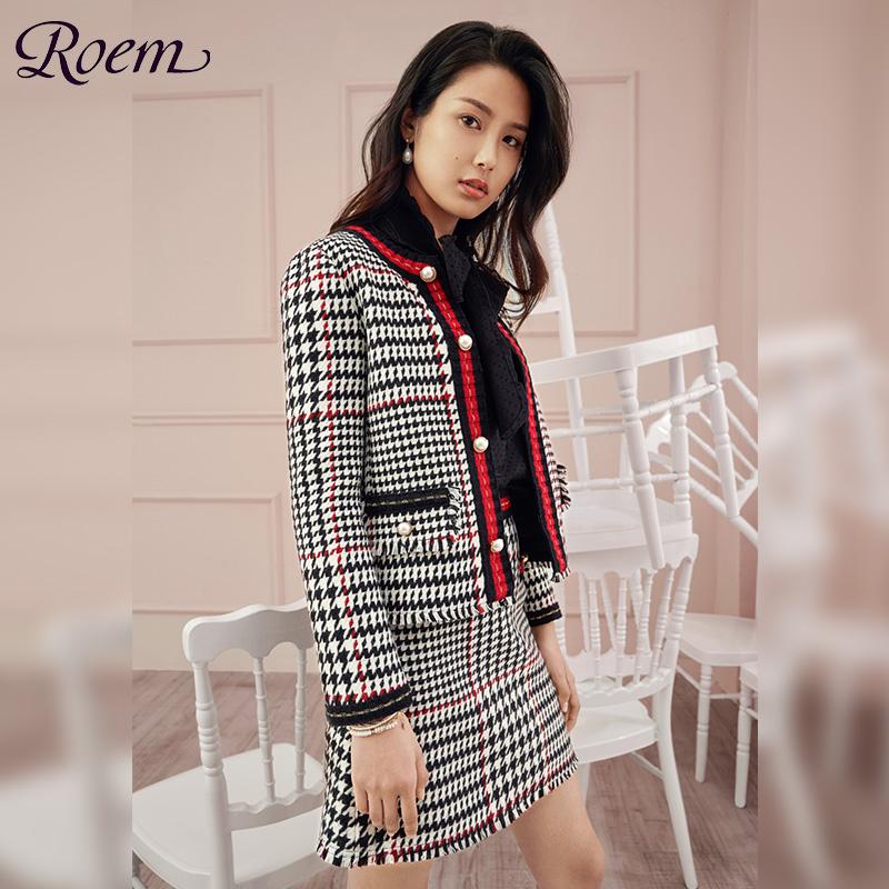 Roem2019春夏女ol修身淑女小香风仙女a字款短裙RCWH91C01C