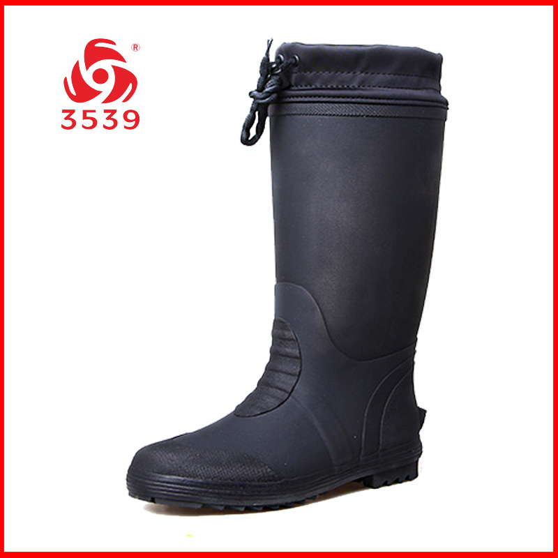 3539 New Winter Long Barrel Warm Rubber Rainfall Boots with Cold-proof and Fleece-proof Thermal Water Boots with Slip-proof, Wear-proof and Waterproof Men's Shoes