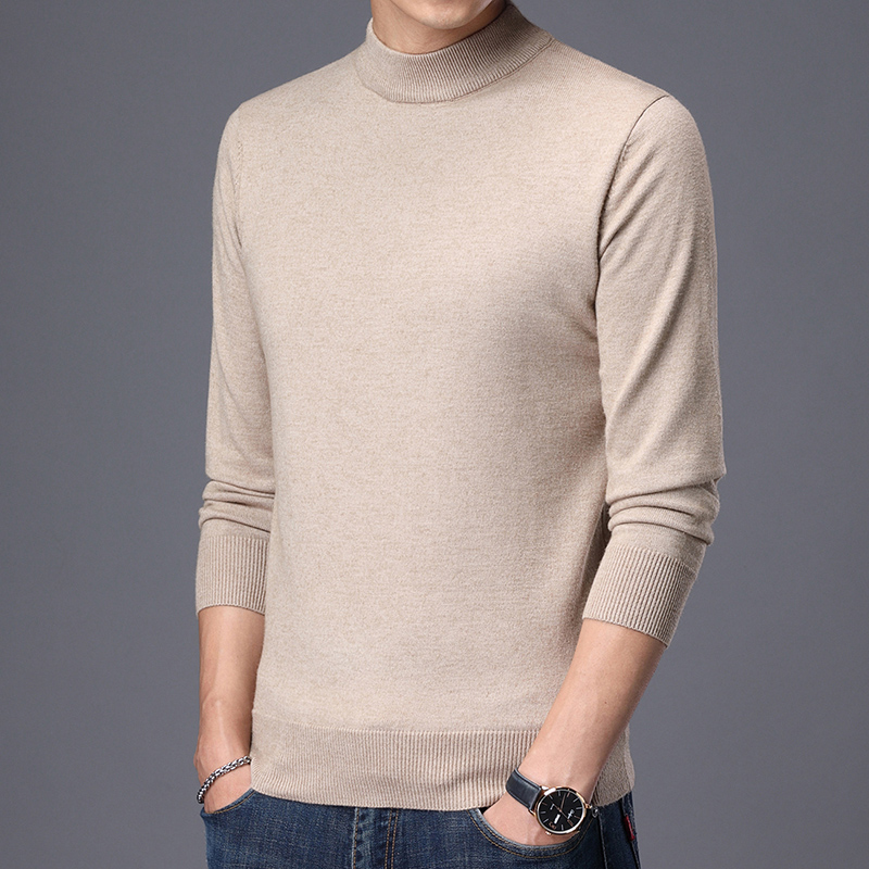 2020 new mens Pullover T-shirt high neck thick sweater loose large round neck solid color sweater