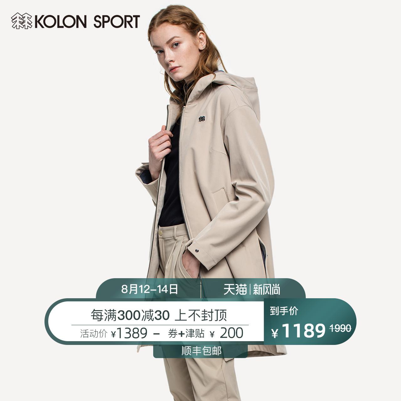 KOLONSPORT 可隆女子中长款外套夹克经典风衣开叉连帽运动户外衣