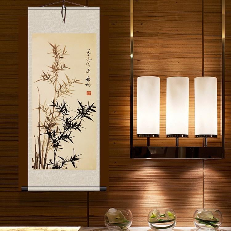 酒店卷轴郑板桥装饰挂画丝绸茶楼包厢挂画壁画竹子墙画书法作品画