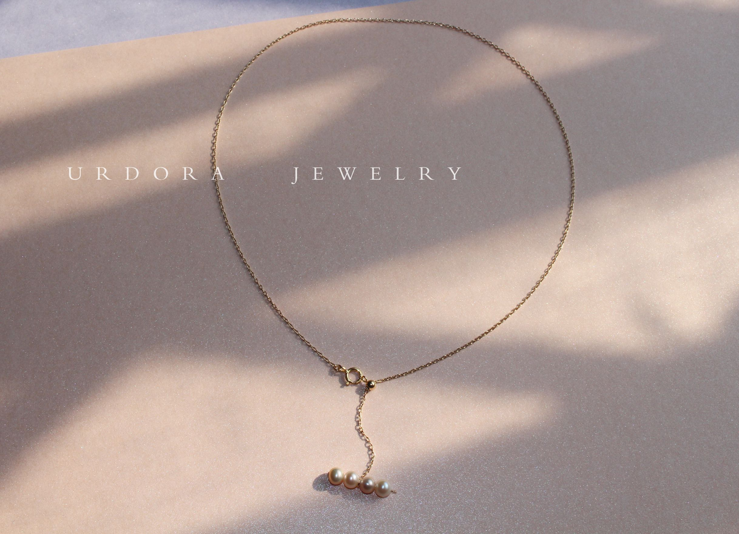 Urdora balance wood pearl necklace clavicle chain natural freshwater pearl minimalist style accessories