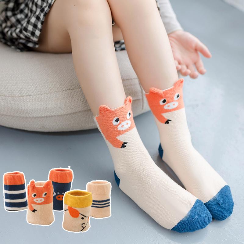 儿童袜子男孩女童精梳棉袜四季款宝宝中筒袜中大小童婴儿袜 5双装