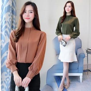 930#2018春装新款韩版女装宽松显瘦立领衬衫百搭长袖雪纺衫小衫潮