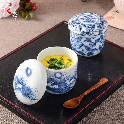 日本进口陶瓷带盖碗小蒸蛋盅瓷器炖蛋盅燕窝蛊茶碗蒸燕窝碗耐高温