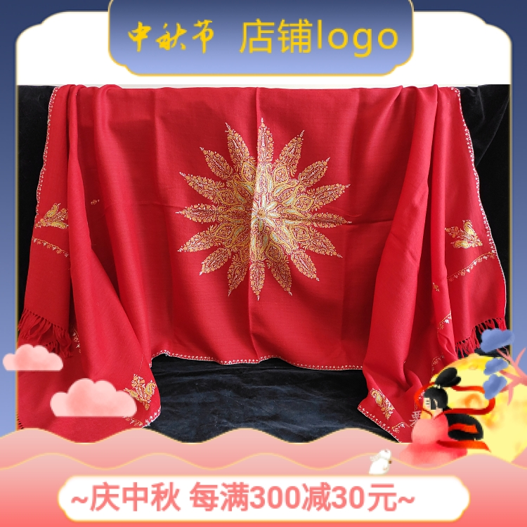 インドマフラーカシミールウール手縫い刺繍多色長方形のフリンジストールの赤い色