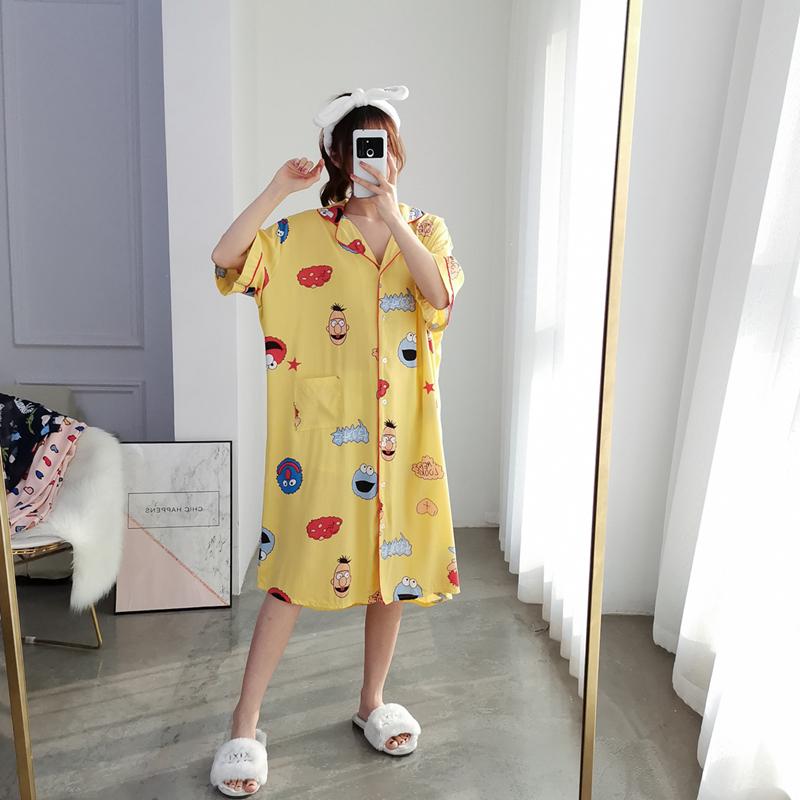 夏季加大码棉绸短袖睡裙薄款开衫卡通连衣裙睡衣宽松胖MM家居服女