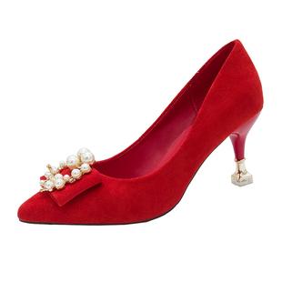 紅色婚鞋女細跟高跟鞋秀禾中式伴娘鞋方扣結婚鞋子新娘鞋中跟孕婦