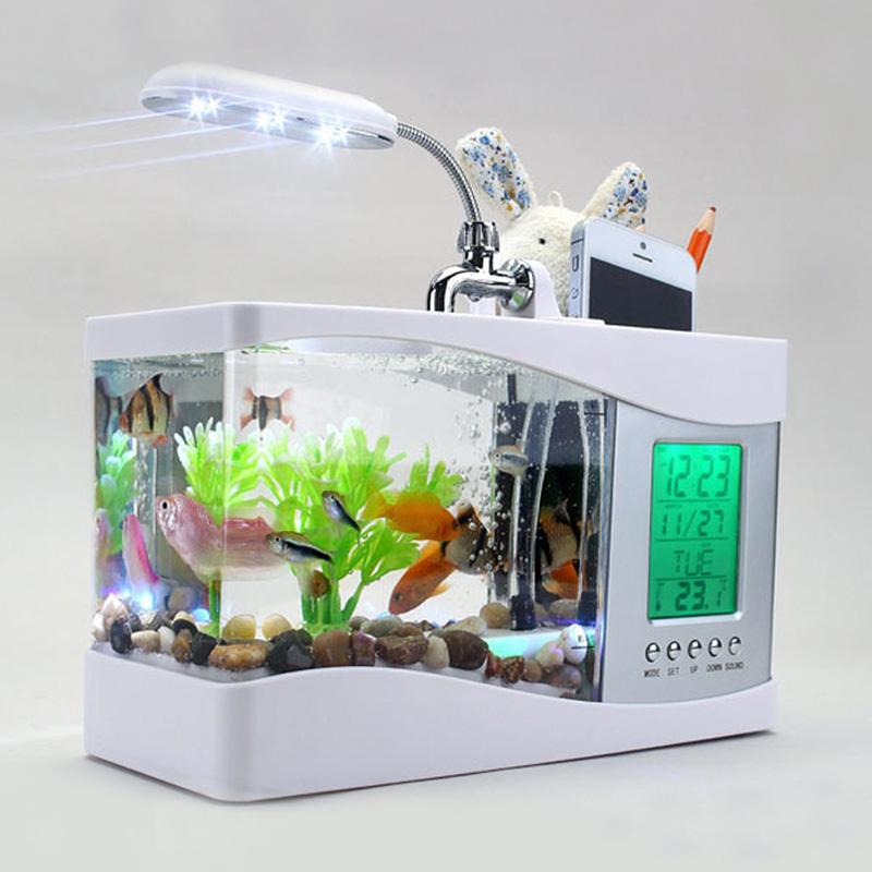 多功能魚缸筆筒 日歷溫度鬧鐘