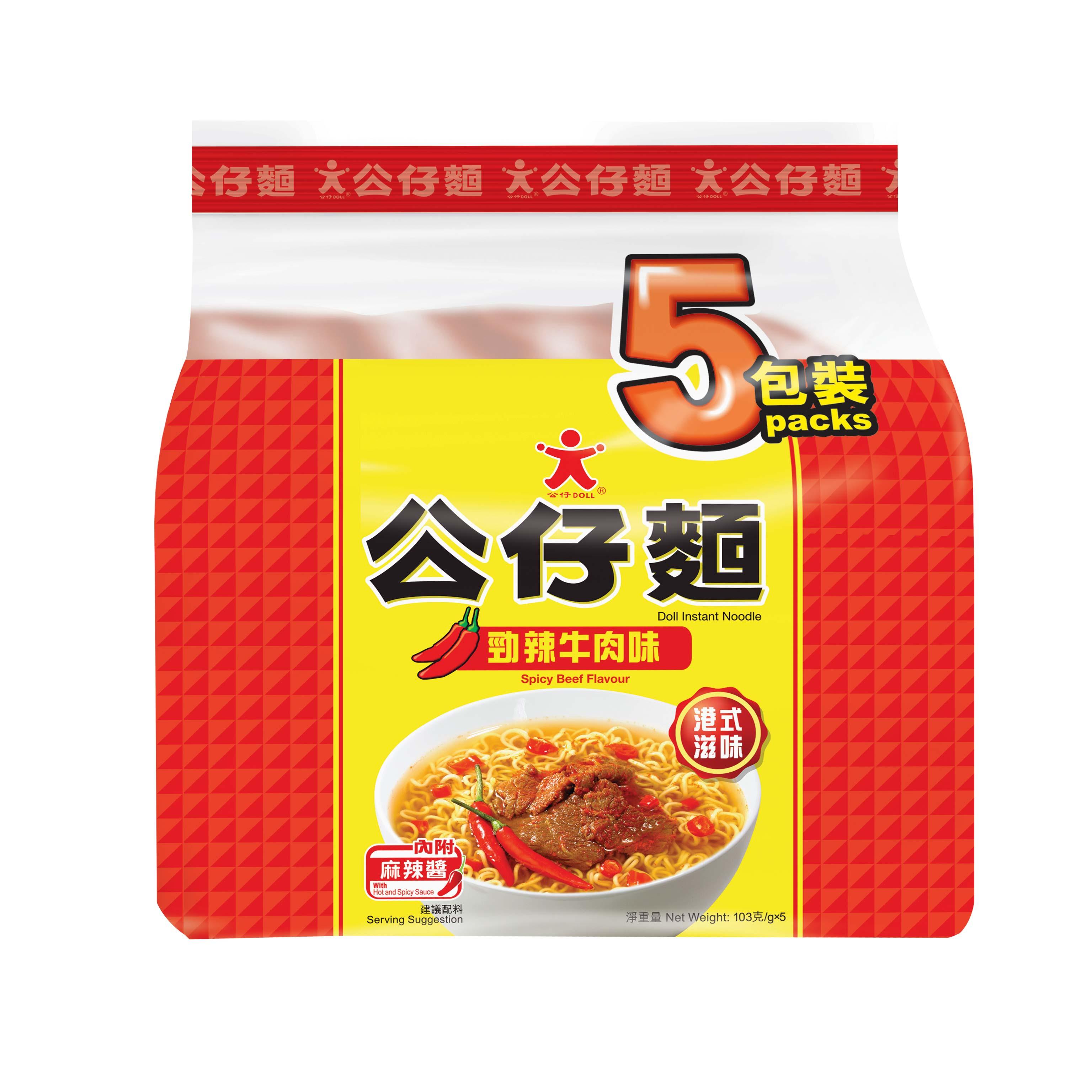 ~天貓超市~香港 方便麵 勁辣牛肉味公仔麵 5連包103g^~5