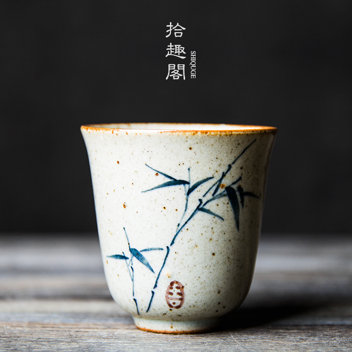 手绘复古粗陶手工景德镇品茗杯