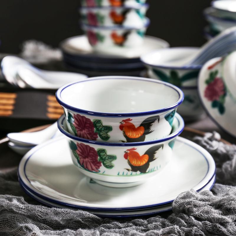 民國復古懷舊老式公雞碗香港TVB周星馳雞公碗特色陶瓷餐具碗盤碟