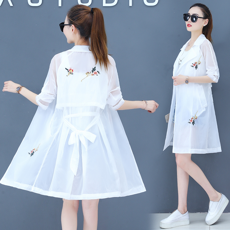 Sun proof clothing womens coat new loose large size sun proof clothing medium length Korean embroidery sunscreen shirt thin
