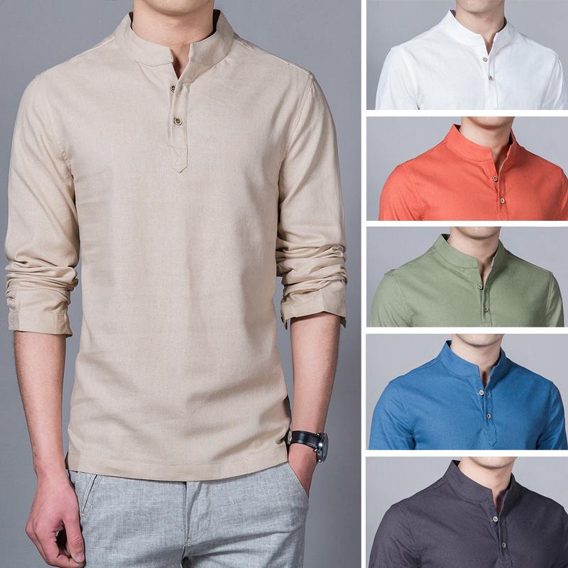 Men Cotton Linen Shirt 2018 Stand Collar Casual Male Shirts