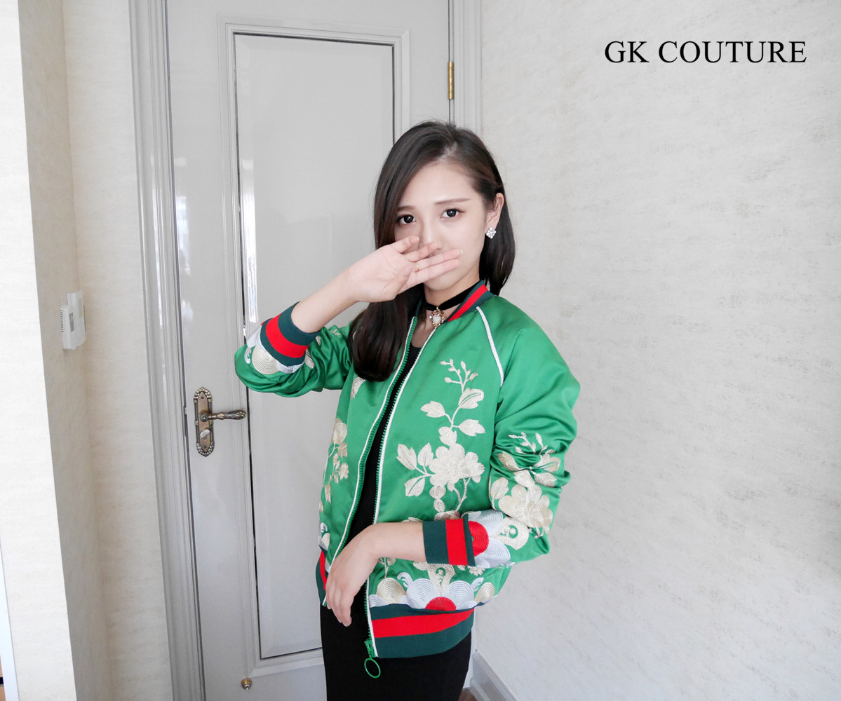 ? double 11% off ? gkcourture advanced customized Green Satin Embroidery bomber jacket short coat female