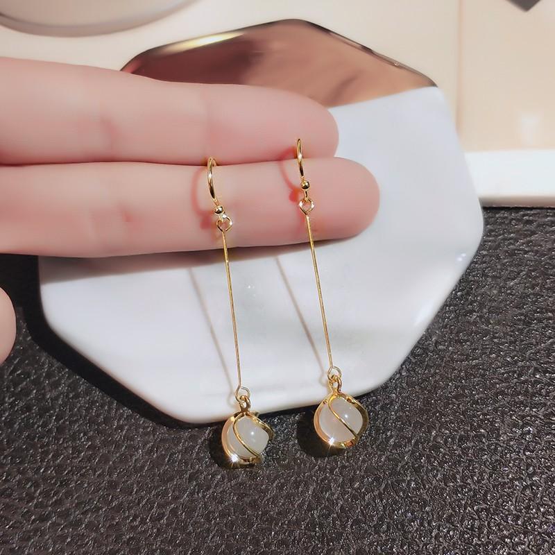 韩版气质猫眼石耳钉 925银针长款流苏耳环新款显瘦耳钩简约耳饰品