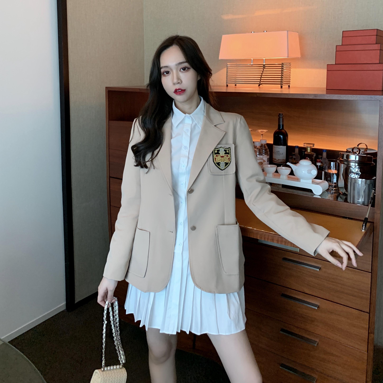 文熙vency韩版休闲网红同款小西服女裙摆压褶百搭衬衫两件套秋装