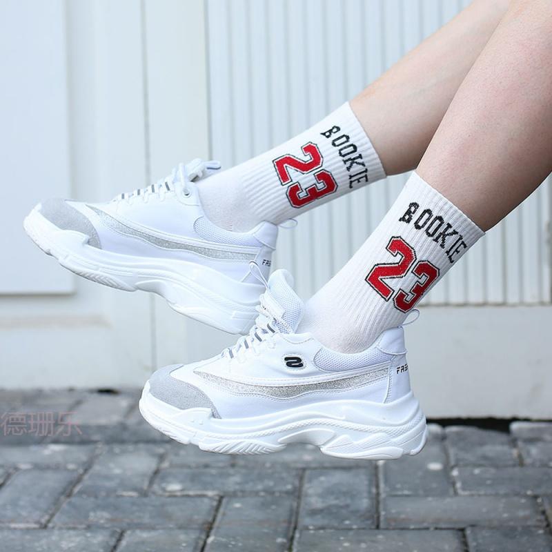 ins袜子女韩版中筒袜泫雅风学生长筒袜学院风网红运动甜美wz