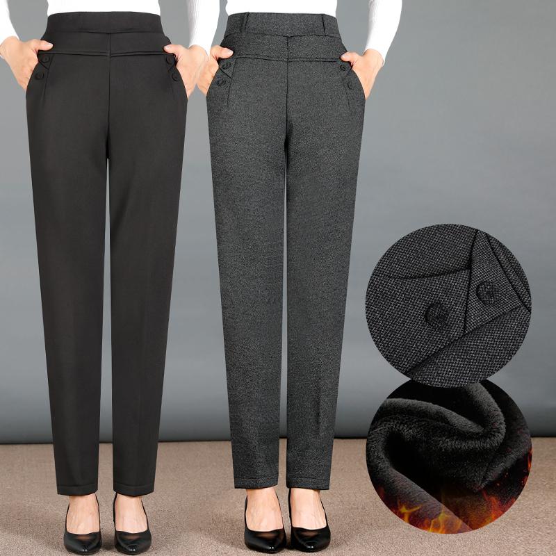 中老年女裤加绒加厚妈妈裤秋冬季厚款高腰直筒外穿中年老年人棉裤