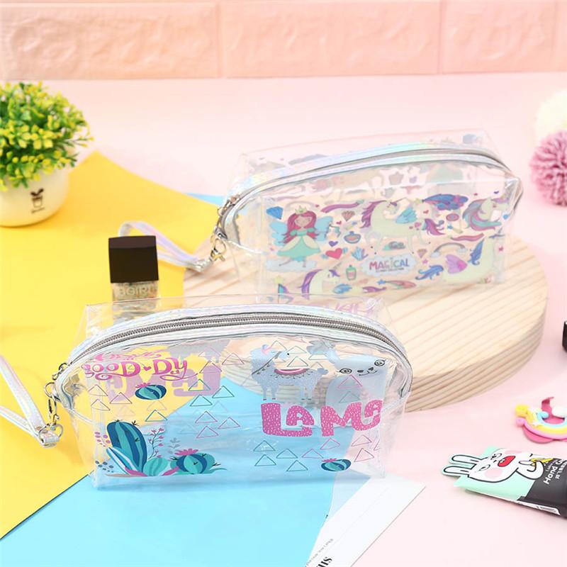 不包邮unicorn独角兽pvc透明化妆包笔袋