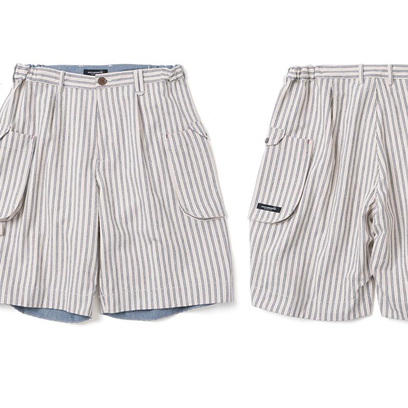 SUPERTOFU(SPTF)19SS 复古国潮宽松大容量侧袋条纹工装短裤