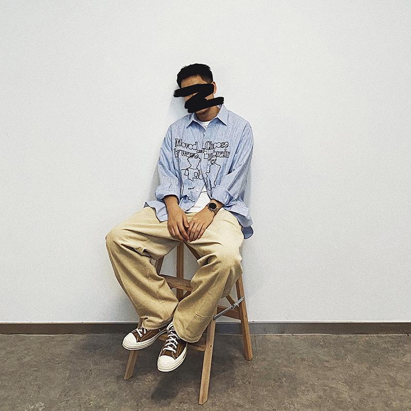 SUPERTOFU(SPTF)AW20新品主题复古刺绣图案竖条纹长袖衬衫