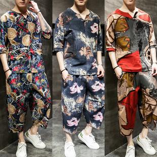 七分袖 中山装 男装 唐装 潮 男青年中国风大码 中式 汉服男古风亚麻套装