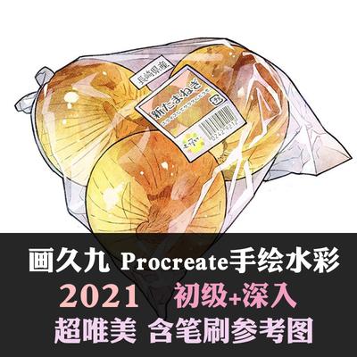 画久Procreate水彩笔刷视频教程pad手绘多肉美食插画素材2021新品